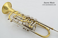 Wholesale OEM High grade Rotary Trumpet in Bb with Wood case and mouthpiece Musical Instruments Factory Supply