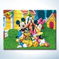 al por mayor amigos trama-Mickey Friends DIY pintura bebé juguetes 30x40cm infantiles lienzo pintura al óleo niños Dibujo de juguetes para regalo de amante con marco de madera