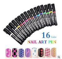 Wholesale 16colors D Design Nail Art Pen Painting Paint Drawing Pen Nail Tools DIY Nail Polish Pen