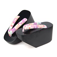 High Heel geta - Japan Geta Geisha Cosplay Shoes Women s Beautiful Matte Painted Super High Heel Flip Flops Wood Sandals