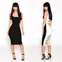 Wholesale Sexy Nightclubs Bandage Dress Europe Patchwork Hollow Halter Slim Bodycon Women Dress Sleeveless Black White Panelled Dress HHY15