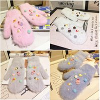 Wholesale Christmas Gloves Ice Cream Colors Winter Warm Girls Gloves for Christmas Gifts Characters Patterns Cony Hair Mittens Gloves