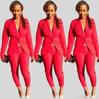 Wholesale New Brand solid color fashion all match OL wind Long sleeve coats women Blazer suits Red S XL