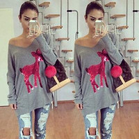 batik womens clothing - 2016 women clothes New women dresseswomen V Neck t shirt Long Sleeve Womens autumn t shirt Tops fashion deer print cotton t shirts for women