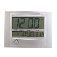 Wholesale Self Setting Digital LCD Home Office Decor Wall Clock Indoor Temperature Popular New
