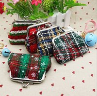 Wholesale High quality snow printing Coin purse canvas key holder wallet hasp small Christmas gifts bag clutch handbag
