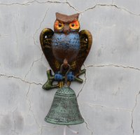 bbq dinner - NEW Cast Iron Owl Bell Patio Dinner BBQ Garden Door Porch Cabin Lodge Welcome Bell Metal Home Decoration Country