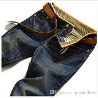 al por mayor jean slim fit para los hombres-Los hombres de la cintura de los pantalones vaqueros flacos rectos de la cintura elástico de 2016 hombres adelgazan los pantalones ocasionales 28-38 de Jean Hombre apto