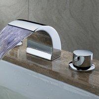 bathtub faucet spout - PHASAT Brass Modern LED Bathroom Faucet Spout Valve Hand Shower Set Deck Mounted Three piece Bathtub Faucet