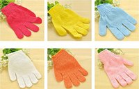 Wholesale 300pcs Exfoliating Bath Glove Five fingers Bath Gloves bathroom accessories nylon bath gloves Bathing supplies bath products A026