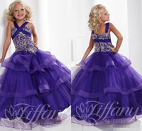 bead designs for kids - Unique Design Cross Princess Purple Girls Pageant Dresses Beading Tiered Tulle Flower Girl Dress for Wedding Birthday Party Kids Cheap