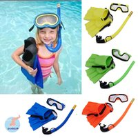 Wholesale 4 Colour Kid Swimming Diving sets Child Scuba Diving Equipment Snorkeling Diving Mask Goggle Flippers Breathing tube Swimming Pool Equipme