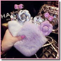 apple perfumes - Fashion Rabbit Fur Hair Cover Rhinestone Case Diamond Perfume Bottle Glitter Bling Crystal Shell Protection For iPhone plus inch