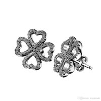 Cheap New41 Hot24 Wholesale Arrival European Charm The Lucky Clover With Crystal 925 Sterling Silver Stud Earrings For Women Fashion DIY Jewelry