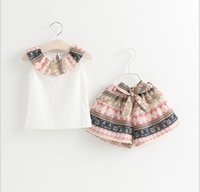 Summer baby girl vest - New Kids Pullover Lace Tops Bowknot Shorts Sets Children Outfits Girl Summer Short Sleeve Printing Set Baby Girls Casual Suit