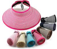 Wholesale Women Roll up Wide Brim Summer Hat Topless Floppy Visor Sun Shield Straw Hat Cap