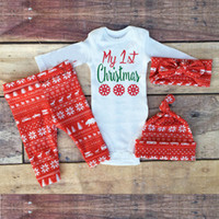 baby snow hats - Ins Baby Red Color Christmas Outfits Newborn Baby Long Sleeve Rompers Full Snow Print Pants Hat Headbands Sets Autumn Clothes Suits