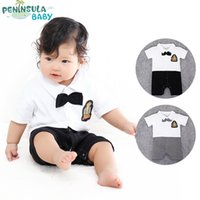 Cheap 2016 Summer Baby Toddler Pretty Gentleman Rompers Kids T-shirt With Bowknot Patchwork Soild Color Shorts One Pieces Infant Clothing