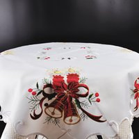 Wholesale 85 cm Christmas Polyester Satin Jacquard Embroidery Floral white Tablecloths Cutwork by Hand Embroidered Table Cloth Model Number TSS824