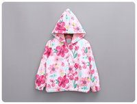 Wholesale Han style of new fund of autumn female children s clothing baby ink flower hooded jackets windbreaker sun protective clothing coat