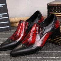 Wholesale Large Size Mens Handmade Slip On Dress Shoes Genuine Leather Red Black Wedding Shoes Business Style Formal Party Shoes