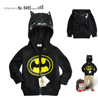 Wholesale children s Boy s Batman zipper hooded Outwear Coat boy Hoodies Sweatshirts kids Baby long sleeve hoody Jackets with Cape clothing