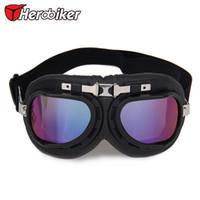 Al por mayor-NUEVO durable del envío Gafas de motor del vintage del casco de la moto Moto Gafas Gafas de motocross con Protección de la lente libre de T-01