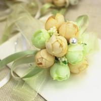 Wholesale Silk Ribbon Flower Buds - Wedding wrist decorations bridesmaid wrist corsage artificial twrist decorating flowers with ribbon and lace free shipping