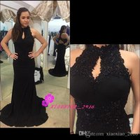 Wholesale Modern Black Lace Mermaid Evening Dresses with Beaded High Keyhole Neck Sleeveless Chiffon Backless Long Rachel Allan Prom Party Gowns