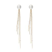 amber drop stud earrings - New listing Fashion white K long gold chain tassel earrings female glamor girls pearl jewelry pair drop shipping