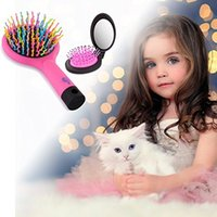 beauty mirror with lights - Desktop LED Cosmetic Makeup Mirror Lady Beauty Facial Light Illuminated Lighted Bathroom rainbow comb Hairbrush with Mirror