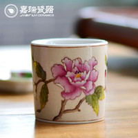 Wholesale Chinese ceramics candle holder hand painted Love Birds Glass Candle container weddings candelabra