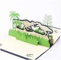 Wholesale 2016 quot Jurassic park dinosaur hollowed by d pop up Thanksgiving greeting card or birthday products sell like hot cakes