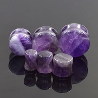 Wholesale Ear Expander body piercing tunnels Jewelry PAIR Purple Natural Amethyst Organic Flesh Tunnels Stone Ear Plugs Ear Gauges