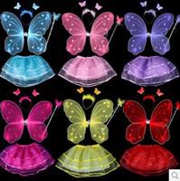 Wholesale 4Pcs Fairy Princess Kids Costume Set Butterfly Wings Wand Headband Tutu Skirt Children Stage Wear Girls Party Halloween Costumes