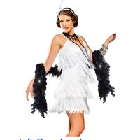 adult hollywood costumes - New Party Costumes Clubwear Adult Sexy V Neck White Hollywood Beauty Feathers Flapper Costume LC8926 Disfraces De Halloween