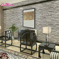 Wholesale Deep Gray D Brick Wallpaper Embossed Imitation Grain Stone TV Background Bedroom Living Room PVC Wallpaper Home Decoration
