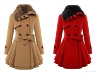 Wholesale Women s Fashion Warm Winter Thick Wool Faux Fur High Quality Lapel Double breasted Thick Wool Trench Coats OXL0645