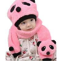 baby velvet yarn - Children Unisex Coral Velvet Beanies Hat and Scarf Pieces Suit Sets Kids Baby Cute Panda Winter Warm Caps Scarf MZ0624