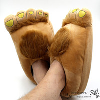 Wholesale Claw House Shoes - Funny Winter Indoor Big Feet Hobbits House Home Floor Slippers Unisex Plush Animal Claws Slipper Novelty 29cm Women Men Shoe
