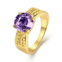 big gold jewellery - Big Purple Cubic Zircon Party Rings K gold plated rings for women Wedding Feast Jewellery Luxurious New Design Christmas Gifts
