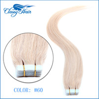 Wholesale Skin Hair Wefts - Light Blonde Straight Adhesive Skin Wefts Tape In Human Hair Extensions PU Tape Hair 20pcs set 16 18 20 22 24 inches Large Stock