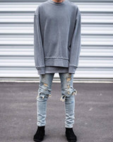 Wholesale kanye west represent mens european clothing slp men light blue black designer rock star destroyed ripped skinny distressed jeans