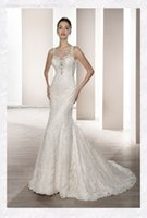 Cheap 2017 Sleeveless Illusion   Sheer Neckline Sequins Beaded Lace Backless Mermaid Wedding Dresses Demetrios 665 Bridal Gowns