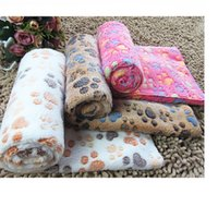 Wholesale Cute Floral Pet Sleep Warm Paw Print Dog Cat Puppy Coral Fleece Soft Blanket Beds Mat WA0671