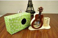 Wholesale Fashion Guitar Shape Digital Needle Alarm Clocks With Pen Container Cute Table Clock Home Decor Unique Gift
