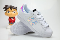 Wholesale Colour Laser - Originals Shoes Men's Shoes For Women's Shoes White Shoe Laser Dazzle Colour Superstar Shell Head Sneakers, Free Shipping