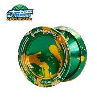 Wholesale CNC Metal Yoyo Professional Alloy Balls Bearing System Long Idle Time Green amp Golden Yo yo