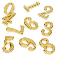 Wholesale 1 Best Price Hign Quality Screw In House Hotel Door Number Numeric Digits Plate Plaque Golden Sign Brass Home Decoration