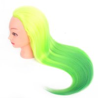 Wholesale mannequin head colorful wig practice braid hair fashion light yellow and green woman corn hot beautiful unique make up wonderful